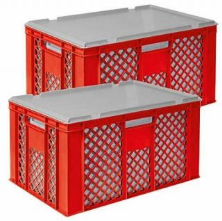 2x 35 Liter Thermobox aus EPS in Eurobox durchbrochen 600x400x320, rot + Deckel