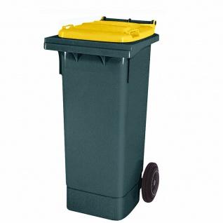 80 Liter MGB, Mülltonne Abfalltonne, grau mit gelbem Deckel