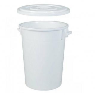 100 Liter Kunststofftonne mit Deckel, ØxH 520/415x670 mm, weiß, lebensmittelecht