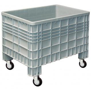 Palettenbox mit Außenrippen und 4 Rollen, LxBxH 1200 x 800 x 950 mm