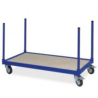 Rungenwagen mit 4 Halterohren, Tragkraft 250 kg, LxB 1000x500 mm, blau RAL 5010