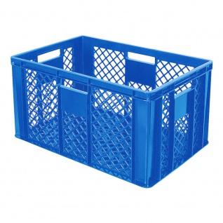 Stapelbehälter / Bäckerkiste mit 4 Durchfassgriffen, LxBxH 600 x 400 x 320 mm, blau
