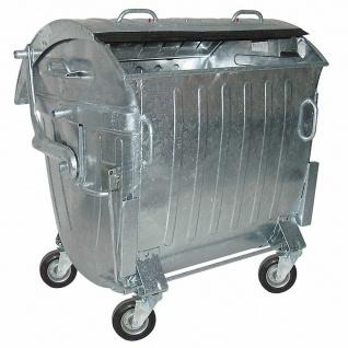 1100 Liter Müllcontainer, fahrbar, Stahlblech verzinkt, mit Zentralstopp