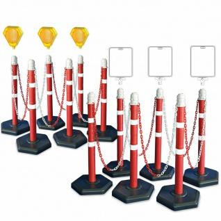 Kettenpfosten-Set, 12 Ständer, 22 m Kette, 3x Blinklampe, 3x neutrale Infotafeln