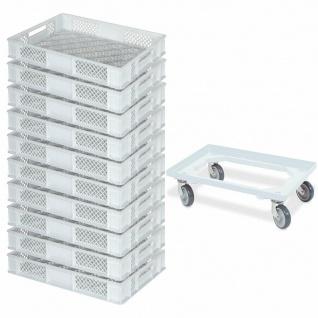 10 Euroboxen / Bäckerkiste, LxBxH 600x400x90 mm, weiß + GRATIS Transportroller