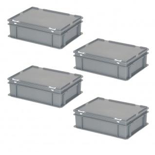 4 Eurobehälter/Deckelboxen mit Deckel, 11 Liter, LxBxH 400x300x130 mm, grau, PP