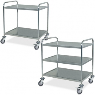 2 Servierwagen / Tischwagen aus Edelstahl, 1x 2 Böden, 1x 3 Böden, Trgkf 200 kg - Vorschau 1