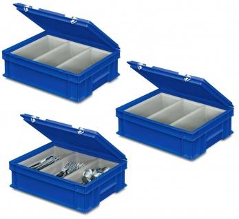 3 Besteckkoffer / Sortierbehälter, 400 x 300 x 130 mm, blau, 3 Mulden je 2 Liter