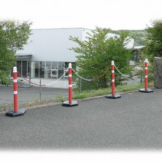 Kettenpfosten Set mit 4 Ständern, 6 m Kette, 1000 mm hoch, Fuß betongefüllt