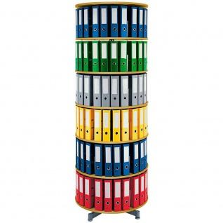 Ordnerdrehsäule, 6 Etagen für bis 120 breite DIN-Ordner, Buche, HxØ 228 x 81 cm
