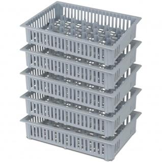 5x Spülkorb für Schnapsgläser, 33 Fächer, LxBxH 390 x 260 x 80 mm, grau