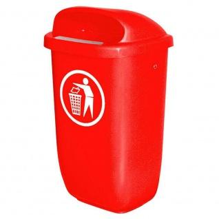 4x Abfallbehälter für den Außenbereich, Inhalt 50 Liter, nach DIN 30713, rot