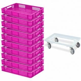 10x Bäckerkiste/Euroboxen, LxBxH 600x400x90 mm, pink + GRATIS Transportroller