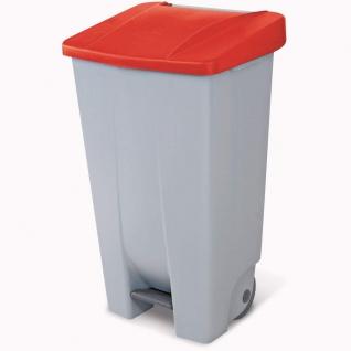 Tretabfalleimer mit Rollen, 120 Liter, HxBxT 880 x 510 x 430 mm, grau / rot
