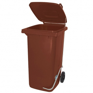 Mülltonne, Inhalt 80 Liter, braun, mit Fußpedal zur Deckelöffnung
