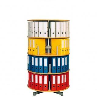 Ordnerdrehsäule, 4 Etagen für bis 80 breite DIN-Ordner, Buche, HxØ 156x81 cm
