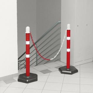 Kettenpfosten Set, 2 Ständern, 2 m Kette, H= 1000 mm, Kunststofffuß betongefüllt