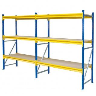 Weitspannregal, Stecksystem, HxBxT 2000x3720x600 mm, Tragkraft 5280 kg, 6 Ebenen