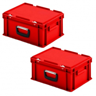 2 Kunststoffkoffer im Euroformat, 1 Tragegriff, LxBxH 400x300x185 mm, rot