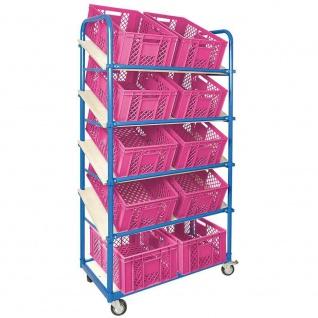 Schrägbodenwagen, 5 Ebenen, 2 Lenk- + 2 Bockrollen, 10 Kisten, 600x400x240mm, pink