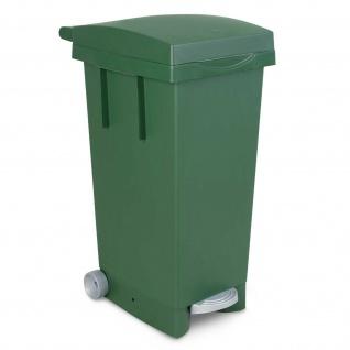 Treteimer mit Rollen, grün, HxBxT 790 x 370 x 510 mm, Inhalt 80 Liter