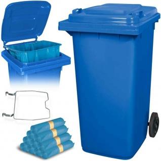 240 Liter Mülltonne blau mit Halter für Müllsäcke, inkl. 100 Müllsäcke