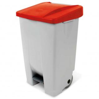 Tretabfalleimer mit Rollen, Inhalt 80 Liter, HxBxT 740x490x420 mm, Korpus grau, Deckel rot