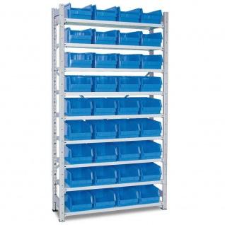 Kleinteileregal HxBxT 200x107x31, 5 cm, 36 Sichtkästen LB3 blau, LxBxH 35x20x15 cm