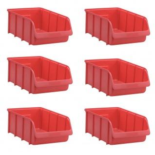 6 Sichtstapelboxen SL 5, rot, Inhalt 24 Liter, LxBxH 495/425 x 310 x 185 mm