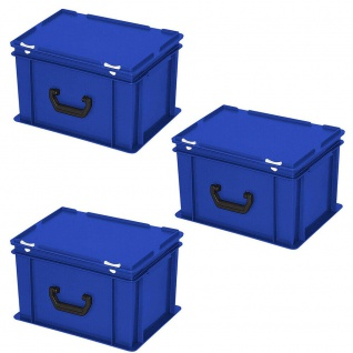 3 Kunststoffkoffer im Euroformat, 1 Tragegriff, LxBxH 400x300x230 mm, blau