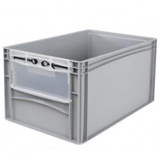 Eurobehälter / Stapelbehälter mit Eingrifföffnung und Riegelklappe, LxBxH 600 x 400 x 320 mm, grau - Vorschau 1