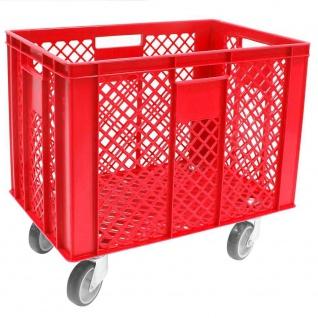 Korb mit 4 Lenkrollen, 83 Liter, 600x400x410/550 mm, Tragkraft ca. 120 kg, rot