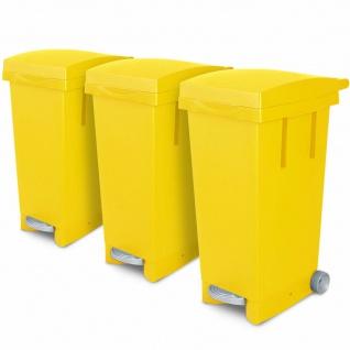 3x 80 Liter Abfallbehälter mit Rollen, gelb, Fußpedal, Deckel