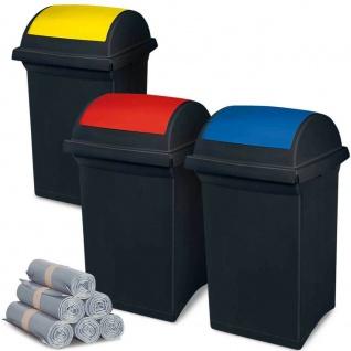 3 Abfallbehälter mit Schwingdeckel blau, gelb, rot, 50 l + 300 Müllsäcken á 100 l