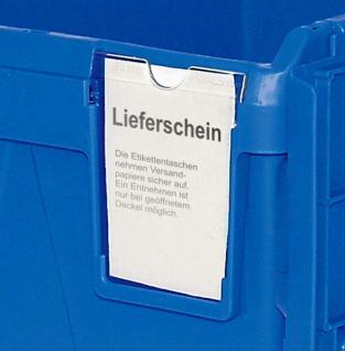 Mehrwegbehälter mit anscharnierten Deckeln, Farbe blau, LxBxH 600 x 400 x 265 mm - Vorschau 2