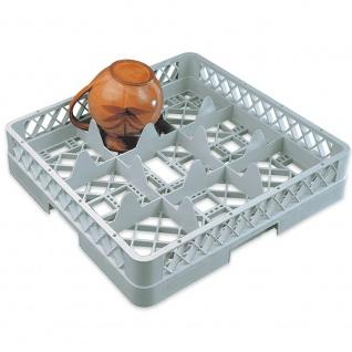 Spülkorb für Geschirr und Gläser, 9 Fächer, LxB 500 x 500 mm, grau