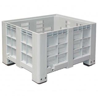 Großbox mit 4 Füßen, Inhalt 610 Liter, LxBxH 1200 x 1000 x 760 mm, grau, Boden/Wände durchbrochen