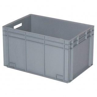 Stapelbehälter / Kunststoffkiste mit 2 Durchfassgriffen, LxBxH 600 x 400 x 420 mm, grau