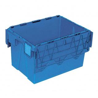 Mehrwegbehälter mit anscharnierten Deckeln, Farbe blau, LxBxH 600 x 400 x 365 mm