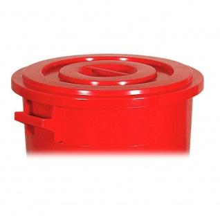 100 Liter Kunststofftonne/Rundtonne weiß, Deckel rot, ØxH 520/415x670 mm