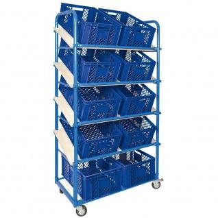 Schrägbodenwagen, 5 Ebenen, 2 Lenk- + 2 Bockrollen, 10 Kisten, 600x400x240mm, blau