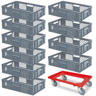 10 Euroboxen, 600x400x150 mm, lebensmittelecht, grau + GRATIS Transportroller