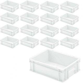 16x Euro-Stapelbehälter mit 2 Griffleisten, LxBxH 400x300x120 mm, 11 Liter, weiß