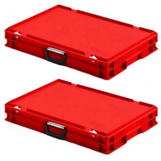 2 Eurokoffer mit 1 Tragegriff auf einer Längsseite, LxBxH 600x400x85 mm, rot