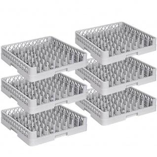 6x Spülkorb für Tabletts, LxB 500 x 500, Korbhöhe 100 mm, Nutzhöhe 88 mm, grau