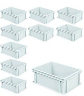 10 Euroboxen mit 2 Griffleisten, LxBxH 400x300x170 mm, 16 Liter, weiß