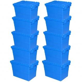 10er Set ALC Mehrwegbehälter 600x400x415 mm, blau, mit Klappdeckel