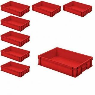 8 Euroboxen / Stapelkisten mit 2 Griffleisten, LxBxH 600 x 400 x 120 mm, rot