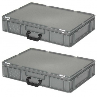 2 Kunststoffkoffer mit Scharnierdeckel, grau, LxBxH 600 x 400 x 130 mm, PE-HD