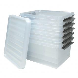 6 Klarsichtboxen mit Clipdeckel, transparent, LxBxH 500x400x260 mm, 36 Liter, PP